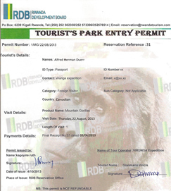 Gorilla permits in Rwanda
